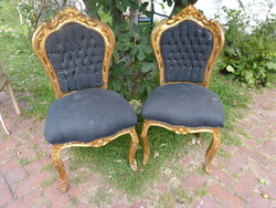 2 gilded neo-baroque chairs.