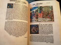 Luther Bibliája, két nagy kötet, az 1534-es kiadás facsimiléje, gyönyörű, színes metszetekkel.