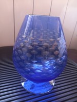 Cup-shaped, retro, polished blue glass vase