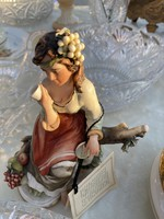 Girl with glass, capodimonte, marked with certificate