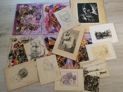 16 alkotás együtt aukción - kisebb gyűjtemény, Réti M.,Ilosvai,Ék, Kádár, stb.- 1 forintról.