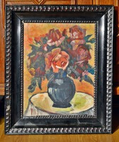 Joseph Kornai (1889-1929) painting, oil on wood, with frame 60 x 50 cm, jjl. Kornai j.