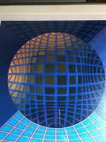 """Victor Vasarely/Vásárhelyi Győző/ """"Dauve""""  ofszet nyomat aláírással a lemezen EA. példány"""