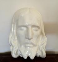 Régi fehér mázas kerámia Jézus fej fali dísz