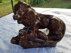 Ceramic lion nude statue