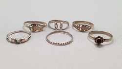 6 old silver rings in one