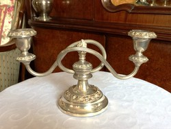 High-gloss, silver-plated, medium-sized, elegant candlestick for festive occasions