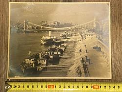 Budapest castle, quay, Elizabeth bridge, boats large size photo