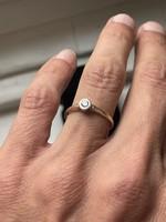 1 Forintról! Art Deco arany gyűrű régi briliáns csiszolású gyémánttal.