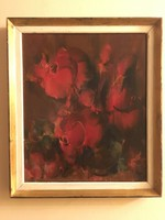 Bíró lajos (1927-2010) gallery painting of red roses.