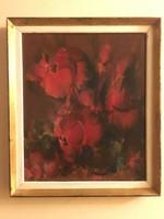Bíró Lajos  ( 1927-2010 ) Vörös Rózsák című galériás festménye .