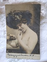 Antique long-addressed New Year's postcard / photo card for lady with champagne glass, New Year's piglets 1902