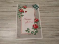 Antique greeting postcard. Embossed.