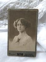 Antique Hungarian cdv / business card / hardback photo lady portrait hunnia budapest studio circa 1900