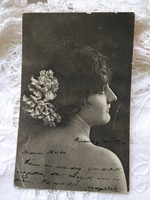 Antique long address postcard / photo sheet lady, flowers 1901