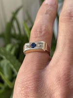 1 Forintról! 14 karátos régi briliáns gyűrű zafír kővel!