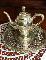 Coffee and cake? Silver-plated coffee pouring and openwork cake serving bowl with shiny surface