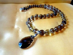 Smoke quartz bead string with pendant