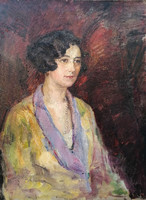 Young lady with a string of pearls! Hungarian painter, around 1920!