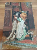 Antique postcard with little girl and doggie, 1918