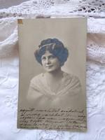 Antique postcard / photo of pretty lady in lace scarf circa 1920