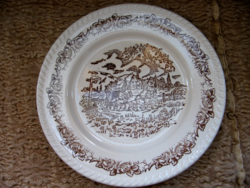 Brown and white scene with English plate on equestrian cart