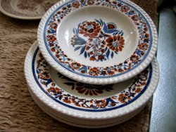 Brown-blue floral English plates