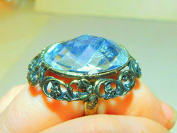 Art Nouveau giant clear white crystal ring