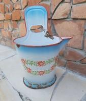 Zománcos 7 literes virágos Lampart rocska sajtár zsétár fejővödör, nosztalgia paraszti dekoráció