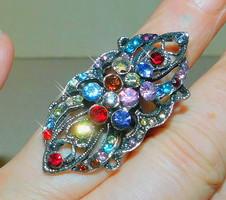 Art Nouveau many gemstones Tibetan silver ring - gorgeous piece