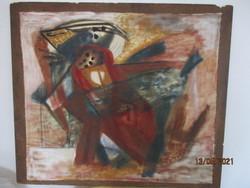 Különleges absztrakt olaj vászon festmény farostra téve.A vászon alján jelzett 64 x 56 cm