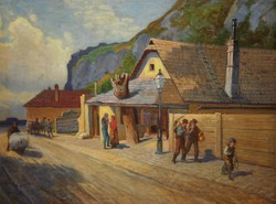 József Mányai (1875-): street with figures / on the Balkans? At the foot of Gellért Hill?