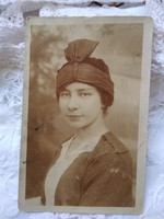 Antique sepia photo sheet, lady with special headdress, headgear first half of 1900s