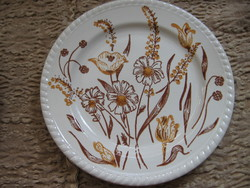 English small plate with brown poppies, daisies and tulips