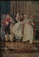 Antik festmény, Adolf Kaufmann(1848-1916): Keresztelő. Jelzett olajfestmény.