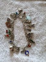 Silver bracelet with 22 charms