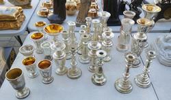 Hutta üveg gyüjtemény  19 sz.közepe ezüst foncsoros. 29 db.