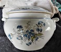 Antique Czechoslovakian faience blue floral white baroque round bowl, soup bowl, showcase condition!