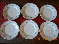 Zsolnay porcelain, blue peach flower patterned small plate 6 pcs