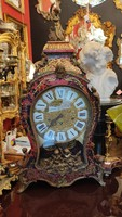 1850s boulle wood and bronze angels and female heads decorated fireplace clock.Large size. F-24