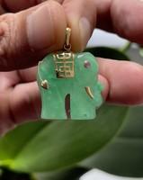 1 Forintról! Szerencsét hozó Arany Jade elefánt medál Rubin szemmel!