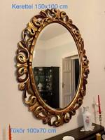 Ovális tükör, nagy méretű, aranyfüsttel fújt faragott florentin keretben