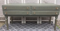 Unique, special four-drawer console table with gold antique pattern
