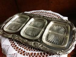Gyönyörű, ezüstözött, nagy méretű, vintage, három osztatú, eredeti üvegbetétes kínálótál