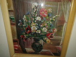 Schéner mihály - flower still life, original, with warranty, oil, canvas. Picture hall, large.