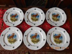 Zsolnay hunting scene flat plate 6 pcs