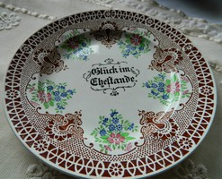 """Antique hand painted rare villeroy & boch dresden """"happiness at home"""" plate, decorative plate"""