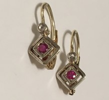Art deco gold earrings with diamond ruby Vienna 1930 '
