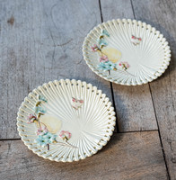 Pair of old villeroy & boch plates - Japanese effect, fan shape with flowers and butterflies