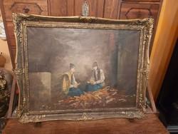 1 ft os aukció. Kukoricafosztók antik festmény.
